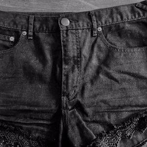 Free People Black Denim Shorts size 30